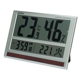 お役立ちグッズ ジャンボソーラー温湿度計 電波時計 超大型液晶 太陽電池 室内用 置掛兼用 ソーラー TD-8170