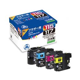 便利雑貨 (ブラザー LC117/115-4PK対応/リサイクルインクカートリッジ/4色セット(BK/C/M/Y)) JIT-B1171154P