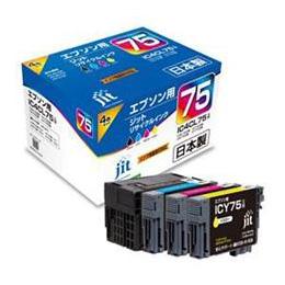 便利雑貨 IC4CL75(ブラック/シアン/マゼンタ/イエロー)対応リサイクルインクカートリッジ JIT-AE754P