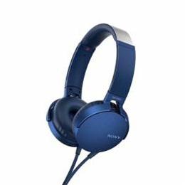 便利雑貨 MDRXB550APLC マイク&コントローラー搭載 ダイナミック密閉型ヘッドホン (ブルー)
