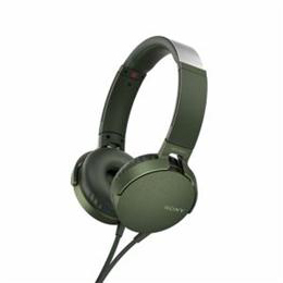 便利雑貨 MDRXB550APGC マイク&コントローラー搭載 ダイナミック密閉型ヘッドホン (グリーン)