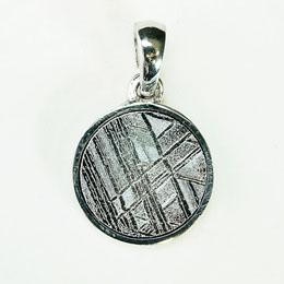 ナミビア産 ギベオン隕石 ペンダント ネックレス 10×10mm プラチナ仕上げsv925チェーン付き p9501