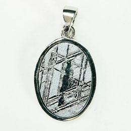 便利雑貨 ナミビア産 ギベオン隕石 ペンダント ネックレス 14×10mm プラチナ仕上げsv925チェーン付き p9502