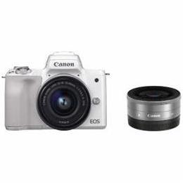 電化製品関連 CANON ミラーレス一眼カメラ 「EOS Kiss M」 ダブルレンズキット (ホワイト) EOSKISSMWH-WLK