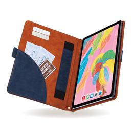 便利雑貨 iPad Pro 11インチ 2018年モデル/ソフトレザーカバー/フリーアングル/ツートン/ブルー×TB-A18MPLFDTBU