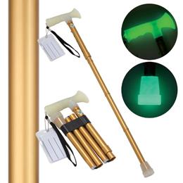 日用品 便利 ユニーク 後藤 折たたみ式ステッキ 杖ぼたる 蓄光タイプ ゴールド 8703031