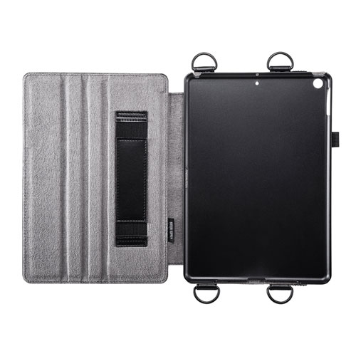 iPad 10.2インチ スタンド機能付きショルダーベルトケース PDA-IPAD1612BK