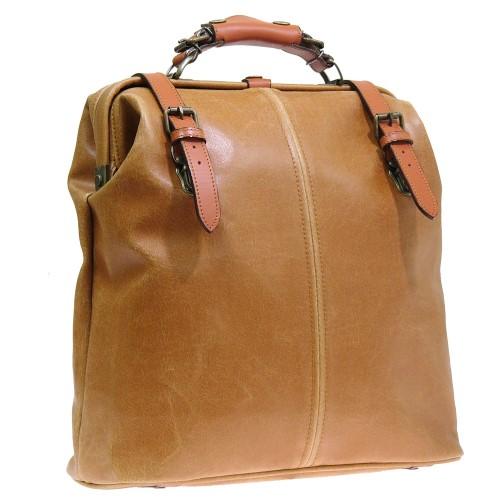 リュック バッグ 濡れてもサッと拭くだけで、お手入れ がとても簡単 オシャレ ダレスリュック2WAY 本革付属 キャメル