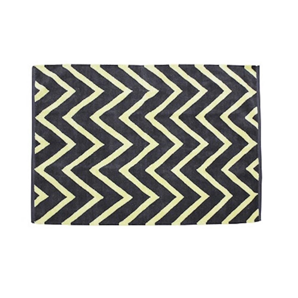 mat アパレル 綿100% ジグザ デザインラグ・マット サイズ:約130×190cm カラー:グレイ