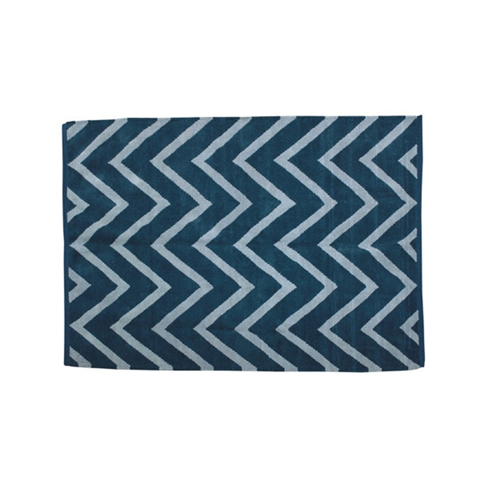 mat ジグザ マット ジグザ デザインラグ・マット サイズ:約90×130cm カラー:ブルー