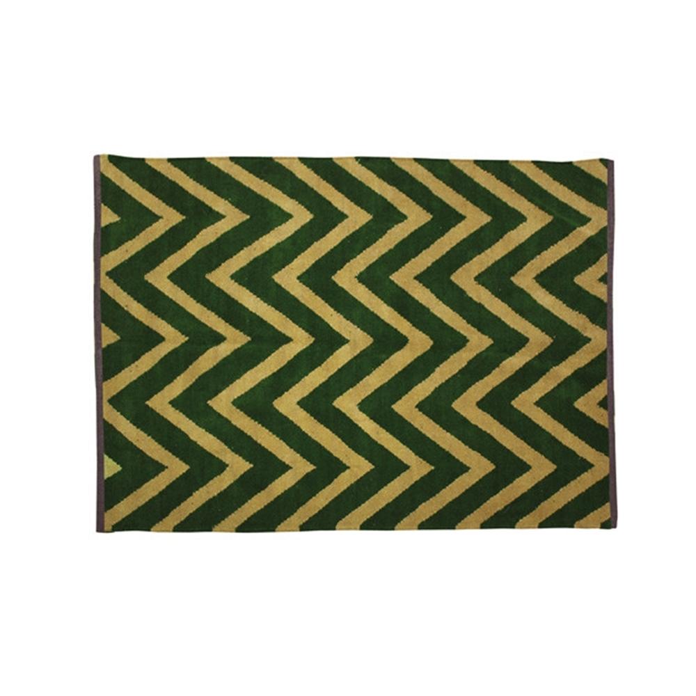 カーペット アパレル 綿100% ジグザ デザインラグ・マット サイズ:約130×190cm カラー:グリーン