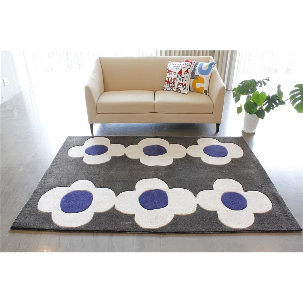 ラグ mat ポップ&キュートデザイン カービングフックラグ カラー:グレイ サイズ:140×200cm