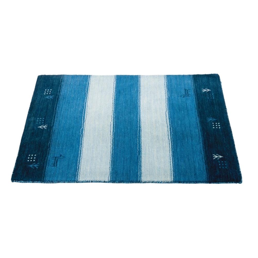 ラグ マット ウール100% ギャベ柄 ラグ・マット カラー:ブルー サイズ:70×120cm