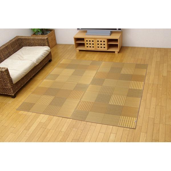 純国産/日本製 袋織 い草ラグカーペット ベージュ 約191×250cm(裏:不織布)