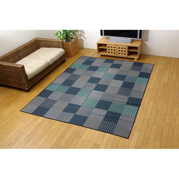 純国産/日本製 袋織 い草ラグカーペット ブルー 約191×250cm(裏:不織布)