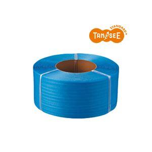 (まとめ)TANOSEE PPバンド 自動梱包機用 青 15mm×2500m 4巻