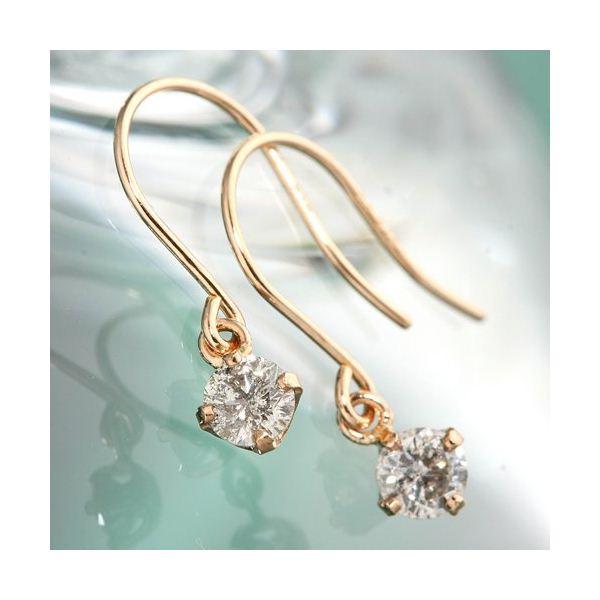 ファッション K18ピンクゴールド 0.2ctダイヤモンドピアス フックピアス
