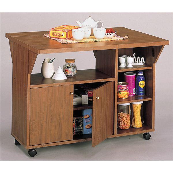 New両バタワゴン/伸長式テーブル 【ナチュラル家具工房】 キャスター付き 幅90cm ブラウン 【組立】