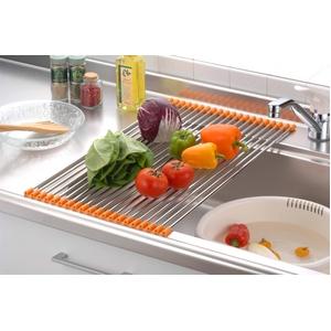 キッチン・食器 シンク用伸縮スノコ オレンジ