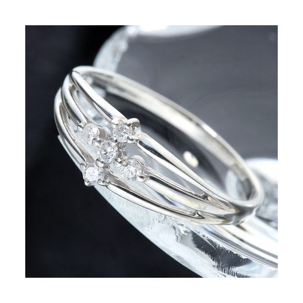 0.1ctダイヤリング 指輪 サザンクロスシルバーリング 15号