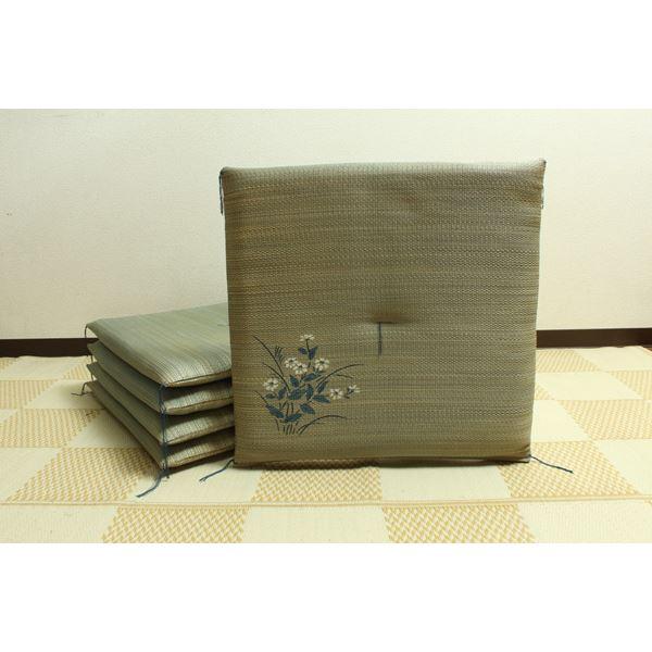 純国産 捺染返し い草座布団 『小花 5枚組』 ブルー 約55×55cm×5P