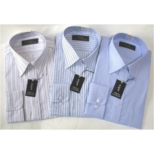 メンズ インナー・下着 インナーシャツ 関連 メンズビジネスストライプ ワイシャツ 長袖 Mサイズ 【3点セット】