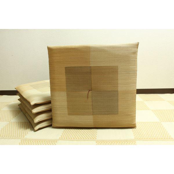 純国産 捺染千鳥 い草座布団 『蕪村(ぶそん) 5枚組』 ブラウン 約55×55cm×5P