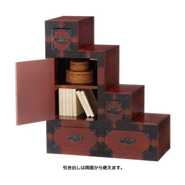 両面階段タンス(民芸調シリーズ) 木製(天然木) 幅60cm×奥行30cm 扉/引き出し収納付き
