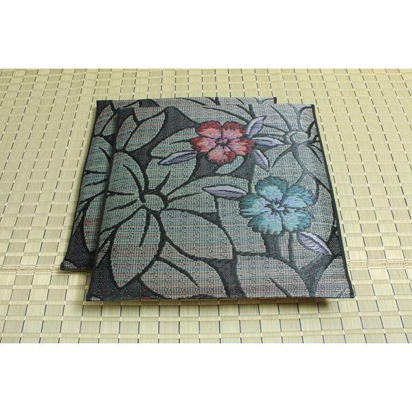 インテリア・家具 純国産 袋織 織込千鳥 い草座布団 『なでしこ 2枚組』 ブルー 約60×60cm×2P