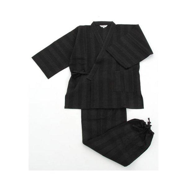 纏(まとい)織作務衣 141-1905 黒 LLサイズ