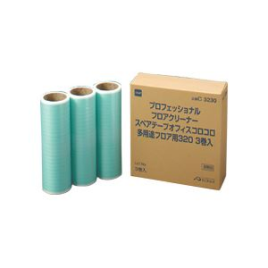(まとめ)オフィスコロコロ 多用途フロア用 スペアテープ 幅320mm×30周巻 3巻入×10パック