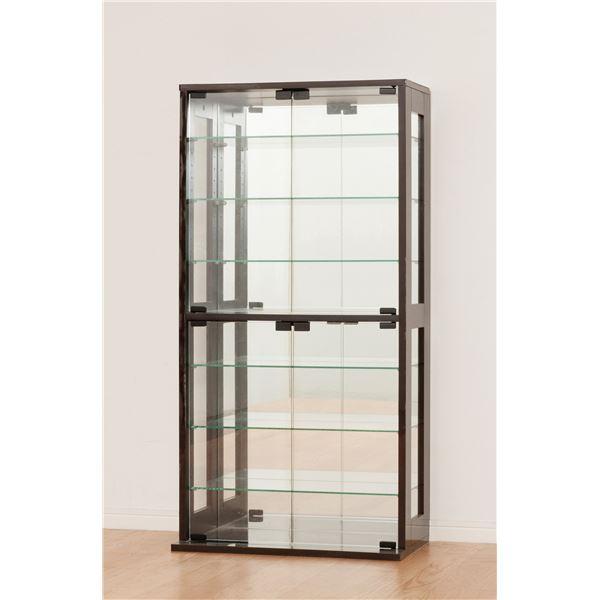 コレクションケース ガラス製/背面鏡張り 幅60cm×奥行29cm ダークブラウン 【組立】