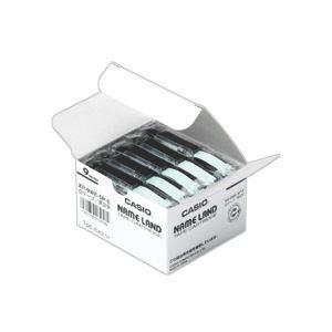 スマートフォン・携帯電話用アクセサリー スキンシール 関連 (まとめ) カシオ(CASIO) NAME LAND(ネームランド) スタンダードテープ 9mm 透明(黒文字) 5個入×6パック