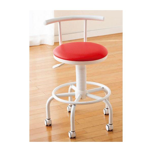【30%OFF】 座り心地のよいキッチンチェア フットレスト/キャスター付き 高さ調節可 レッド(赤), 島村楽器 195608ae