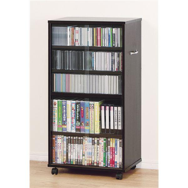 インテリア・寝具・収納 収納家具 関連 CD・ビデオ収納棚 ワイドタイプ ブラウン 27045 【組立】