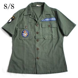 "USタイプ OG-107 ファティーグシャツ カスタム AIR FORCE ""B"" 半袖 13 1/2(レディースフリー)"