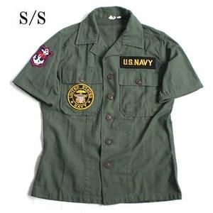 USタイプ OG-107 ファティーグシャツ カスタム NAVY 半袖 13 1/2(レディースフリー)