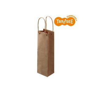 (まとめ)TANOSEE 手提袋 丸紐 茶無地・ワインボトル用 30枚入×10パック