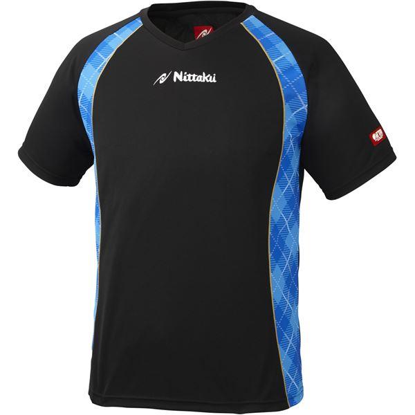 ニッタク(Nittaku) 男女兼用卓球ユニフォーム ユニ Vチェックスシャツ NW2171 ブラック×ブルー XO