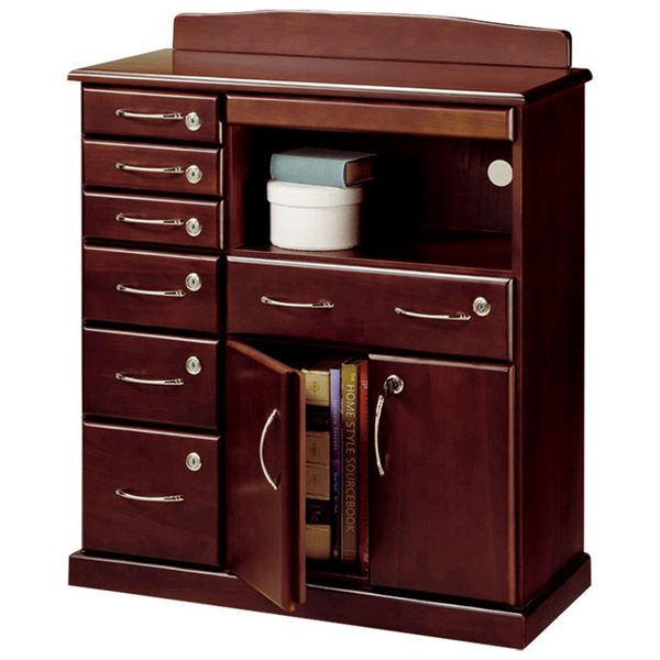 インテリア・家具 ファックス台/電話台 「全段鍵付き家具シリーズ」 【幅72cm】 木製 スライドテーブル付き