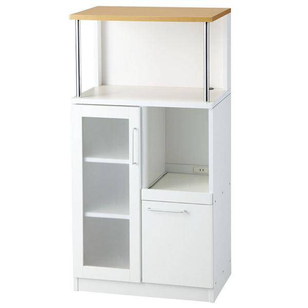 生活用品・インテリア・雑貨 キッチンボード/キッチン収納庫 幅60cm×奥行39.5cm スライドテーブル/食器棚/レンジ置き/コンセント付き