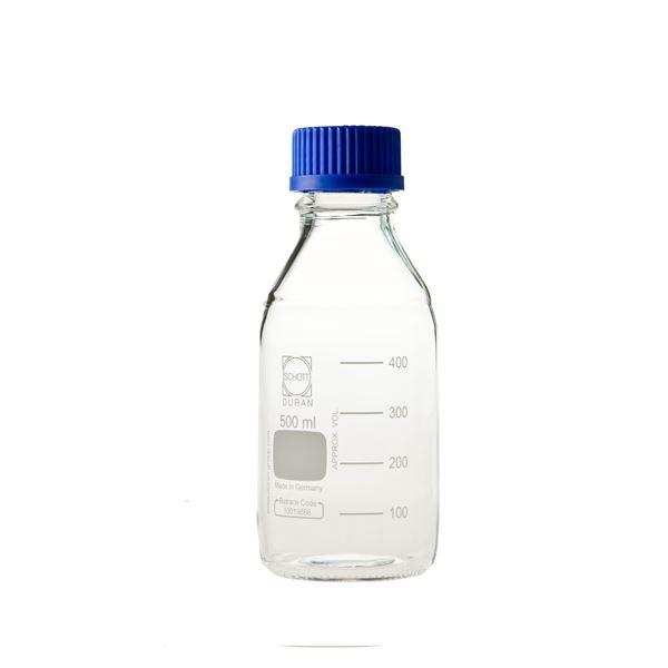 生活用品関連 ねじ口びん(メジュームびん) 青キャップ付 500mL【10個】 017200-500A