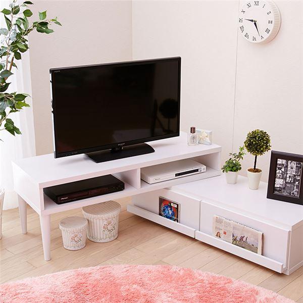 テレビ台(木製) 関連商品 飾れる引出し付伸縮テレビ台 ホワイト