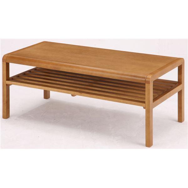 インテリア・家具 センターテーブル(ローテーブル/リビングテーブル) COCOA 木製 幅90cm 収納棚付き ナチュラル
