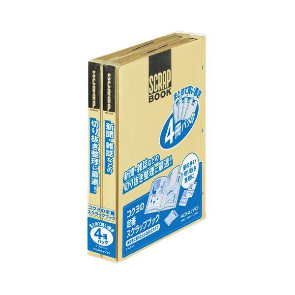 (まとめ) コクヨ スクラップブックD(とじこみ式) A4 中紙28枚 背幅25mm クラフト ラ-40NX4 1パック(4冊) 【×4セット】