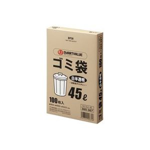 生活用品・インテリア・雑貨 (業務用30セット) ジョインテックス ゴミ袋 LDD 白半透明 45L 100枚 N115J-45 【×30セット】