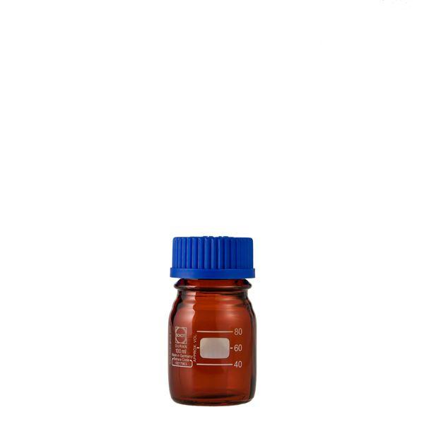 キッズ 教材 自由研究・実験器具 関連 ねじ口びん(メジュームびん) 茶褐色 青キャップ付 100mL【10個】 017210-100A