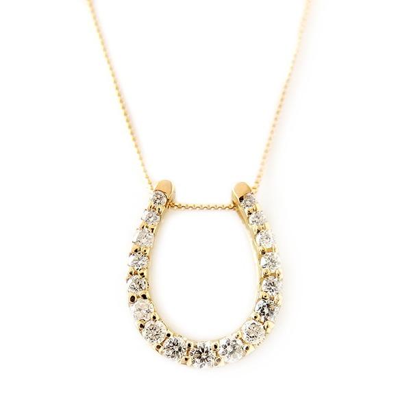 ダイヤモンド 関連商品 ダイヤモンド ネックレス K18 イエローゴールド 0.2ct ダイヤネックレス 馬蹄 ペンダント