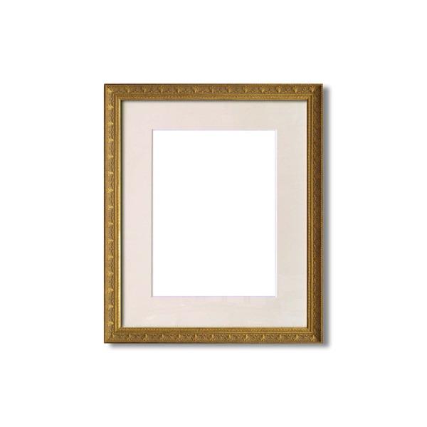 額縁・マット・壁掛けひも・アクリル付 ■8206水彩額F6号 マット付 (アンティークゴールド)