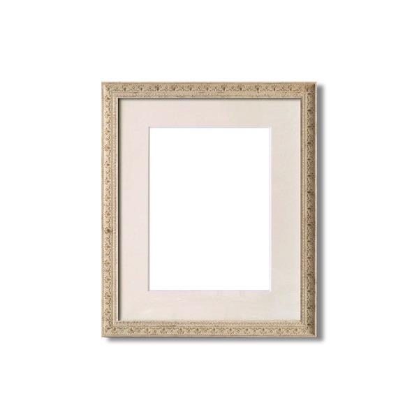 額縁・マット・壁掛けひも・アクリル付 ■8206水彩額F6号 マット付 (ホワイト)